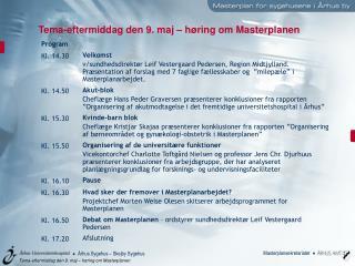 Tema-eftermiddag den 9. maj – høring om Masterplanen