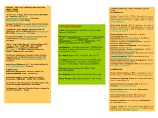 CONVENIOS HOTELEROS  Arica:  Hotel Americano F,058-257752 Hotel Arica & Resort F.058-254540