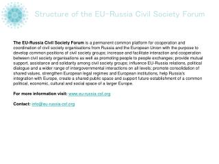 Structure of the EU-Russia Civil Society Forum