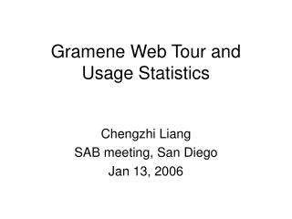 Gramene Web Tour and Usage Statistics