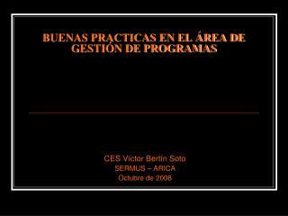 BUENAS PRACTICAS EN EL ÁREA DE GESTIÓN DE PROGRAMAS