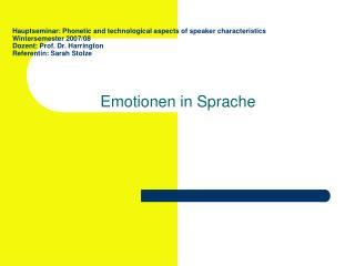 Emotionen in Sprache