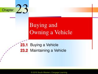 Buying and  Owning a Vehicle