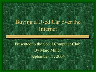 Buying a Used Car over the Internet