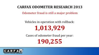 CARFAX ODOMETER RESEARCH 2013