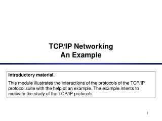 TCP/IP Networking An Example