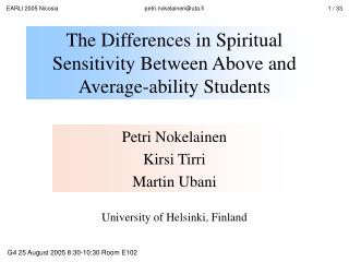 The Differences in Spiritual Sensitivity Between Above and Average-ability Students