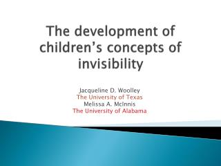 The development of children's concepts of invisibility