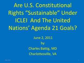 """Are U.S. Constitutional Rights """"Sustainable"""" Under ICLEI  And The United Nations' Agenda 21 Goals?"""