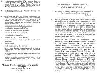 BOLETÍN ESCOLAR ESCUELA CROACIA Año 5- Nº 4 (20 junio  - 07 julio 2011)