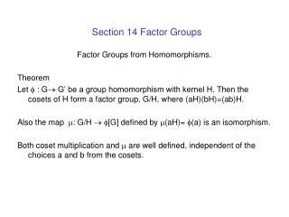 Section 14 Factor Groups