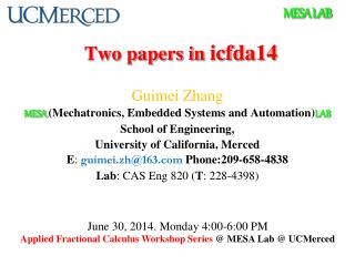 Two papers in  icfda14