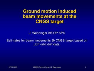 Ground motion induced  beam movements at the CNGS target