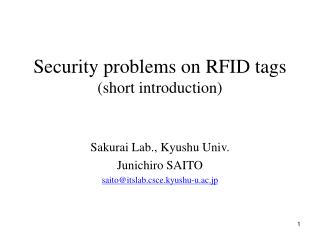 Security problems on RFID tags (short introduction)