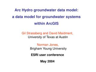 Arc Hydro groundwater data model: a data model for groundwater systems within ArcGIS