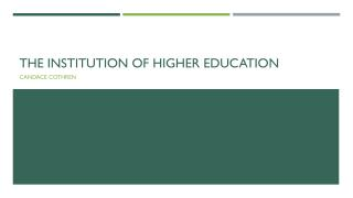 The institution of Higher Education