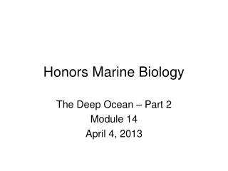 Honors Marine Biology
