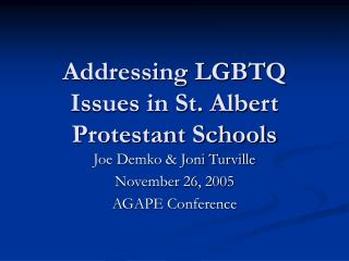 Addressing LGBTQ Issues in St. Albert Protestant Schools