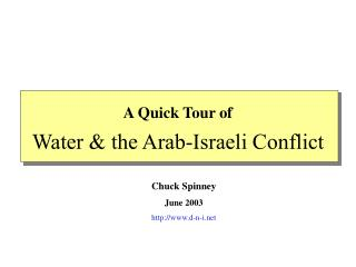 Water & the Arab-Israeli Conflict