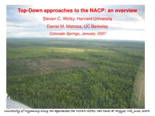 Top-Down approaches to the NACP: an overview Steven C. Wofsy, Harvard University
