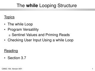 The while Looping Structure