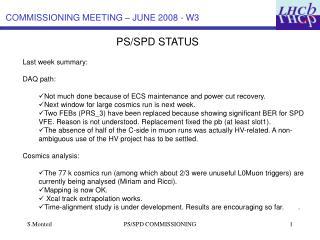 PS/SPD STATUS