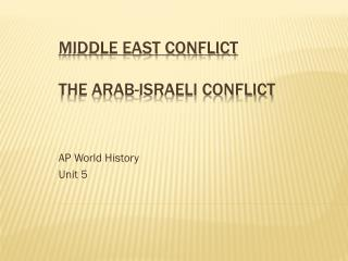 Middle East Conflict The Arab-Israeli Conflict