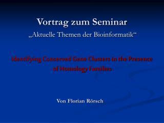 Vortrag zum Seminar