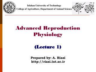 Advanced Reproduction Physiology (Lecture 1)