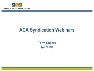 ACA Syndication Webinars