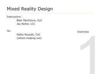 Mixed Reality Design