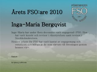 Årets FSO:are  2010