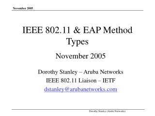 IEEE 802.11 & EAP Method Types