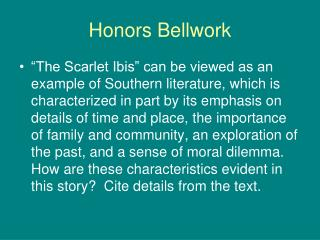 Honors Bellwork