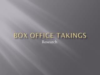 Box Office Takings