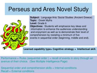 Perseus and Ares Novel Study
