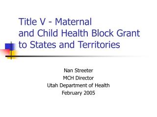 Title V - Maternal  and Child Health Block Grant to States and Territories