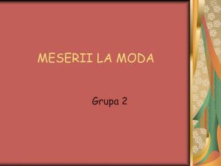MESERII LA MODA