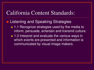 California Content Standards: