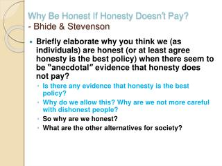 Why Be Honest If Honesty Doesn t Pay - Bhide  Stevenson