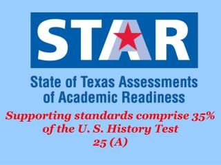 Supporting standards comprise 35% of the U. S. History Test 25 (A)