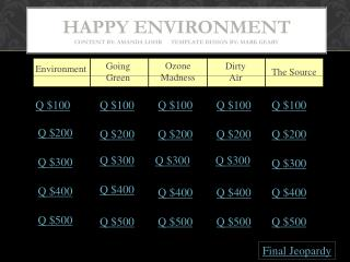 Happy Environment Content by:  Amanda Lohr       Template Design by: Mark Geary