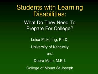Students with Learning Disabilities:
