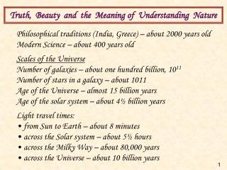 Truth,  Beauty  and  the  Meaning  of  Understanding  Nature