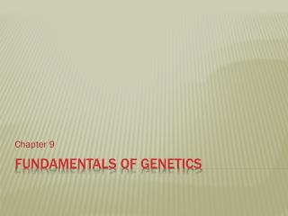 Fundamentals of Genetics