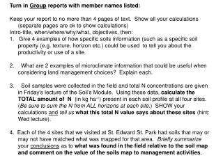 Turn in  Group  reports with member names listed: