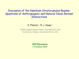 Discussion of the Namibian Stratocumulus Regime:
