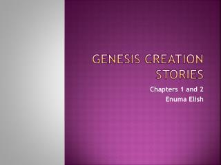 Genesis Creation Stories
