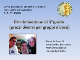 Corso di Laurea di Economia Aziendale  Prof. Carmelo Provenzano A. A. 2013/2014