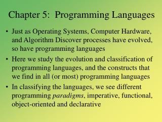 Chapter 5:  Programming Languages